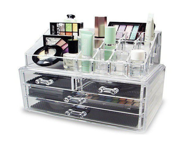 clear cosmetic organizer storage box with draws and grid home worth