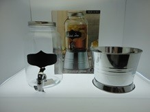 BEVERAGE DISPENSER WITH CHALK BOARD & ICE BUCKET BASE