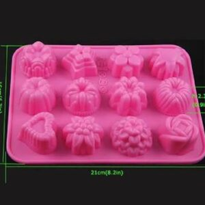 12 CUP MINI ASSORTED SHAPED SILICONE CAKE MOULD