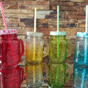 SET OF4 MASON JARS COLOURFUL